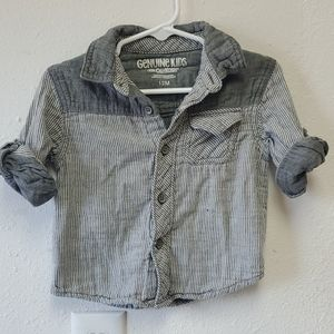 Gray stripes button up